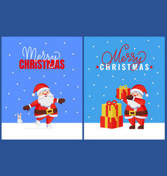 christmas greeting cards with santa and bunny vector image