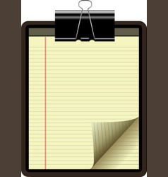 clipboard yellow legal pad corner paper page curl vector image