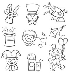 Collection element circus of doodles vector