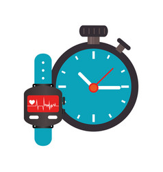 colorful watch with screen heartbeat monitoring vector image