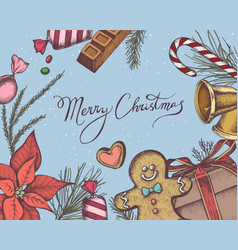 composition with colored bells gingerbread vector image