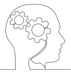 continuous one line head of man with gears concept vector image