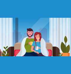 Couple drinking tea man woman sitting on couch vector