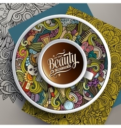Cup of coffee and hand drawn cosmetics doodles vector