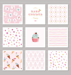 Cute card templates and seamless patterns set for vector