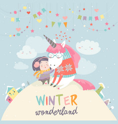 Cute girl hugging unicorn winter wonderland vector