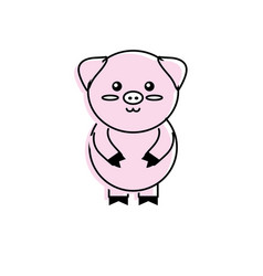 Cute pig wild animal with face expression vector