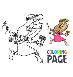 dance women hula hoop cartoon coloring page vector image