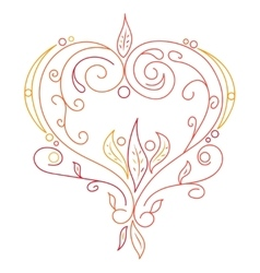 Doodle color abstract heart with willow vector image