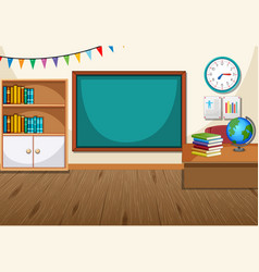 Empty classroom interior with chalkboard vector