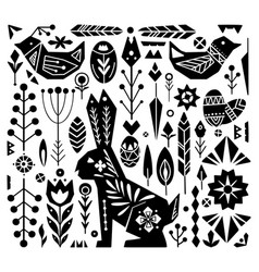Festive easter set with white tribal ornaments vector