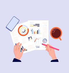 financial report hands writing charts banking vector image