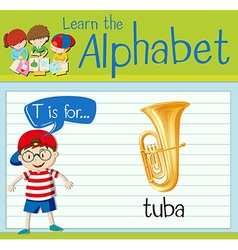 Flashcard letter T is for tuba vector image