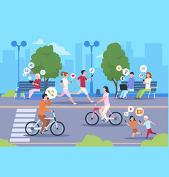 Flat internet urban street city wifi people vector