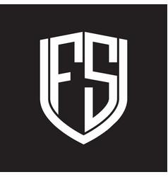 fs logo monogram with emblem shield design vector image