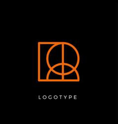geometric shape letter r line monogram vector image