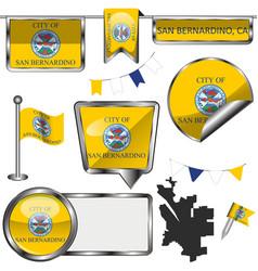 Glossy icons with flag san bernardino vector