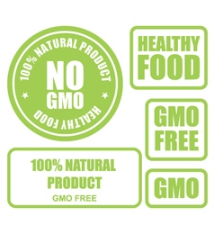 GMO free and healthy food stamps and labels vector