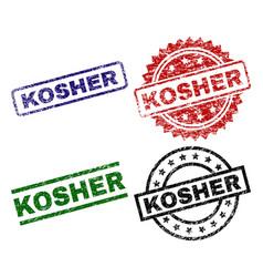 Grunge textured kosher seal stamps vector