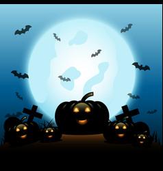 Halloween night with pumpkins on blue moon vector