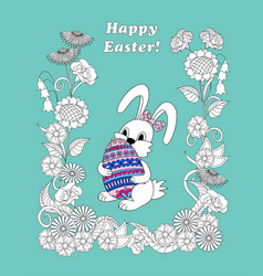 happy easter with cute bunny keeping ornamental vector image