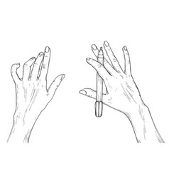 human hands with pen ready to painting vector image
