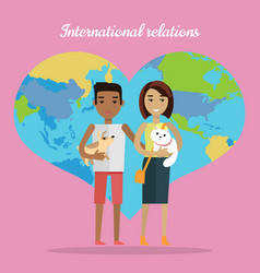 International relations afro man and white woman vector
