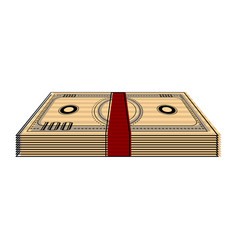 isolated stack of bills vector image