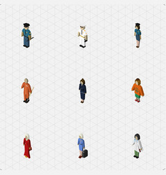 isometric people set of seaman female lady and vector image