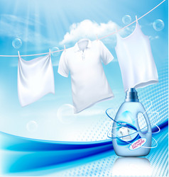 Laundry detergent ad white clothes hanging on vector