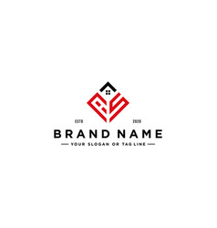 Letter as square with roof house logo design vector