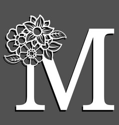 Letter silhouette with flowers letter m vector