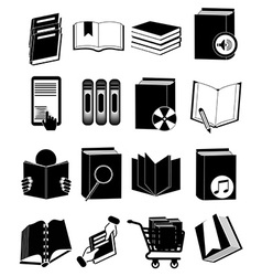 Library books icons set vector image
