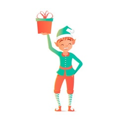 Little elf standing and holding gift Christmas vector image
