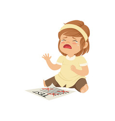 little girl crying about failed test vector image