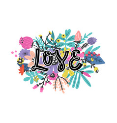 lovely flowers design with lettering vector image
