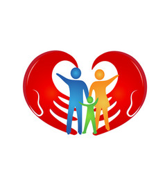 Loving family with hands coming together vector
