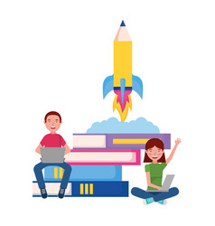 man and woman laptop rocket books education vector image
