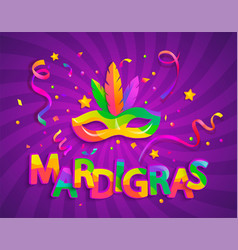 Mask with feathers for mardigras carnival party vector