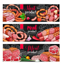 Meat and sausage menu blackboard banner set vector