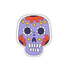 Mexican Painted Skull Bright Hipster Sticker vector image