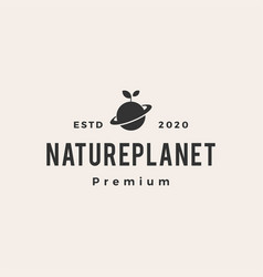 nature leaf sprout planet hipster vintage logo vector image