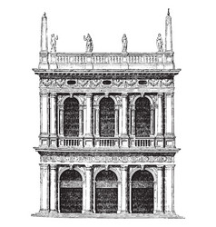 old library of st mark at venice vintage engraving vector image
