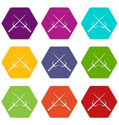 Pair of sai icon set color hexahedron vector