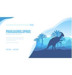 Parasaurolophus landing page template vector
