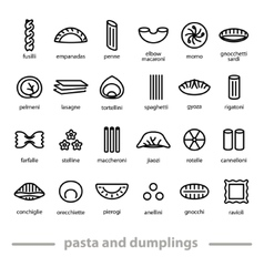 Pasta and dumplings icons vector