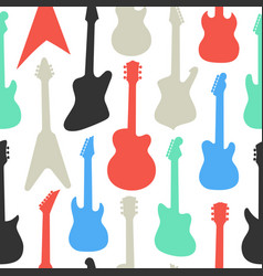 pattern with different shapes and colors guitars vector image