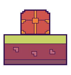 pixelated video game treasure chest vector image