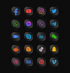 Popular social media network modern rounded glass vector