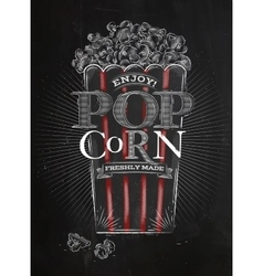 Poster popcorn black vector